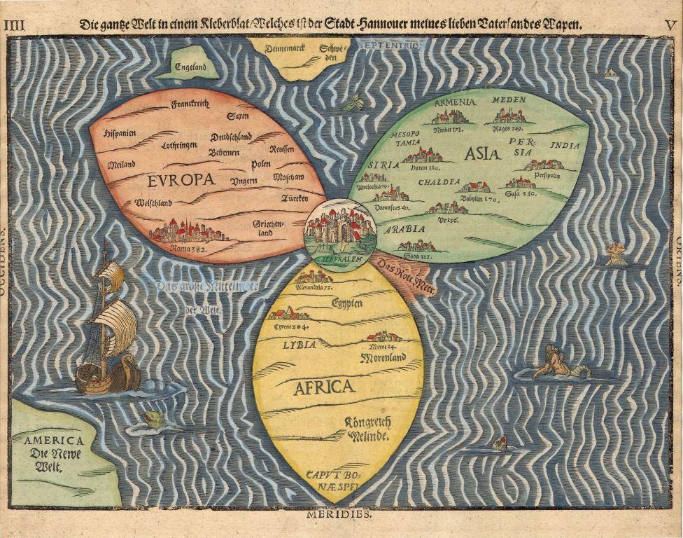 Карта-трилистник, Генриха Бюнтинга,1581 год