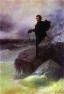 """И.К. Айвазовский, И.Е. Репин. """"Прощание Пушкина с морем."""" (""""Прощай, свободная стихия...""""). 1887 г."""
