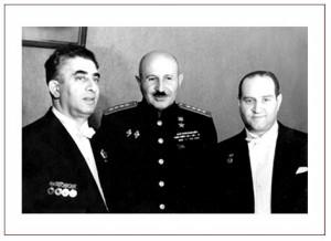 Арам Хачатурян с маршалом Баграмяном и Давидом Ойстрахом