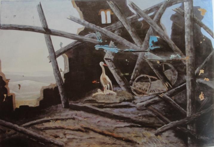 Ованес Аветисян. Аист с птенцами в разрушенном доме