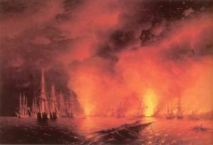 И. Айвазовский. Синопский бой ночью